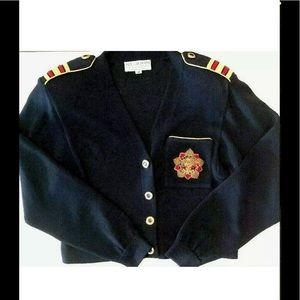 ST JOHN Sportswear Knit NAVY Blue Gold Cardigan